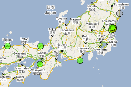 Japan Radiation Map at 2011-03-17 18:40:00 Japan local time